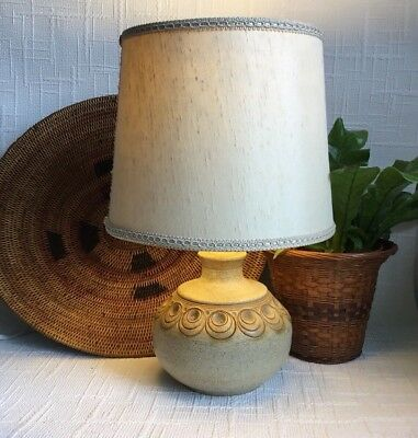 Mid century Vintage Studio Pottery 70s Jersey Moulded Textured lamp base + Shade