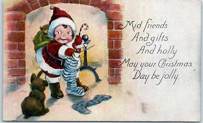 1918 CHRISTMAS Greetings Postcard Dutch Girl as Santa Claus / Fireplace Dog