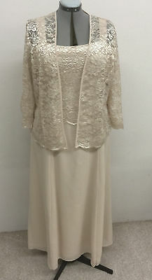 NEW FORMAL EVENING LONG GOWN MOTHER of THE BRIDE GROOM DRESS CHURCH CHAMPAGNE 3X