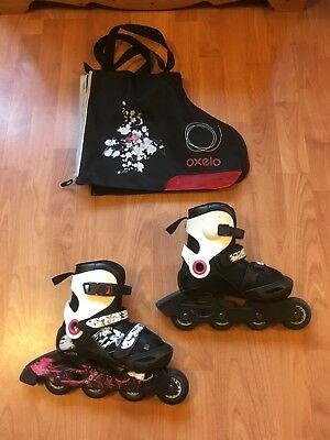 Girls 'Oxelo' adjustable inline skates, extendable sizes from 1.5 to 3 & bag
