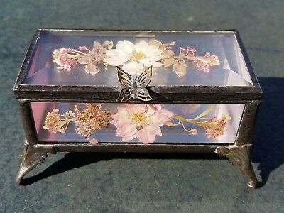 Antique Beveled Glass Jewelry Trinket Box Encased Dried Flowers Butterfly Hasp