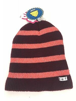 e4621ee7a09 NWT Women s Neff Daily Sparkle Stripe Beanie Hat Maroon Coral Pink NEW!