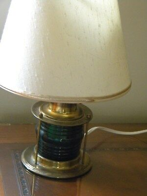 Vintage nautical brass and green glass lamp. Early 1900s.