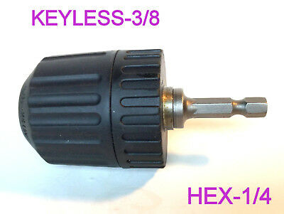 "1 pc Keyless 1/32-3/8"" Cap Drill Chuck with Conversion 1/4"" Hex  Adapter re GSA"