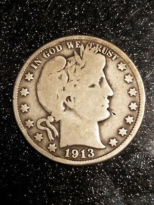 1913  Barber Half Dollar  Great coin for a circulated set, *Key Date* VG