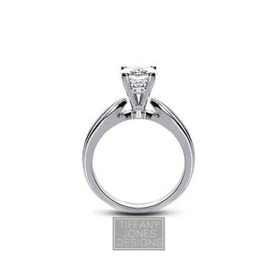 1.06ct E-VS2 VG Round AGI Natural Diamond 950PL Cathedral Engagement Ring 6.11gr