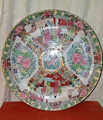 Vintage Chinese Canton Famille Rose Porcelain Plate Hand Painted With Enamels #1