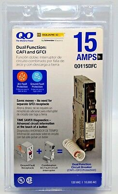 Square D by Schneider Electric QO 15 Amp Single-Pole Breaker Q0115DFC New Sealed