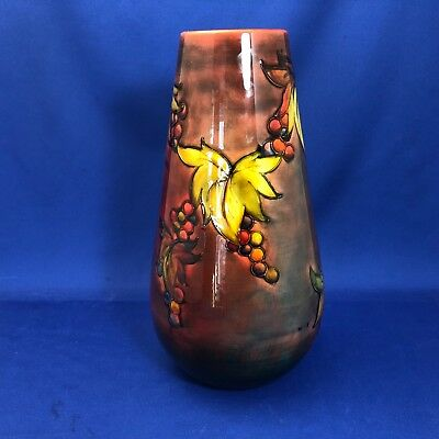 "Very Large William Moorcroft Leaf & Berry Flambe Vase over 12"" tall No Crazing"