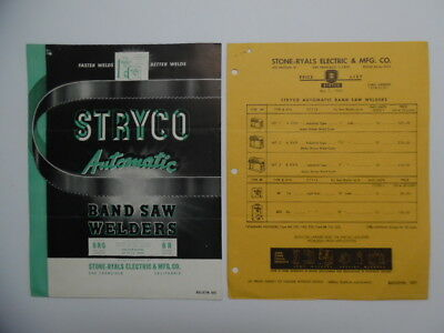 1946 STRYCO BR BRG Band Saw Welders Tool Catalog Sheet Lot Stone Ryals Vintage