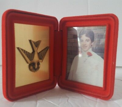 "Mid Century Modern Red Velvet Folding Picture Frame Brass Dove Bird 1.75"" x 2.5"""