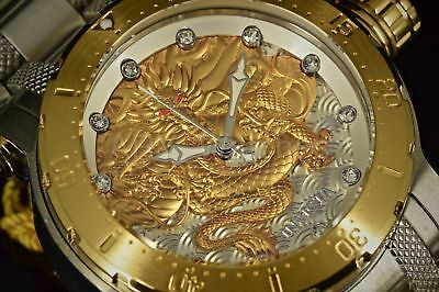 26508 Invicta Coalition Forces Dragon Lord Gold Tone Silver SS Bracelet Watch