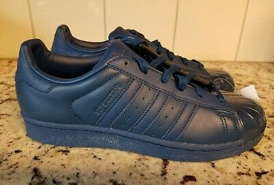 72c92023a2e8   New  Adidas Superstar Women s 7.5 Train Tennis Shoe Blue Leather Glossy