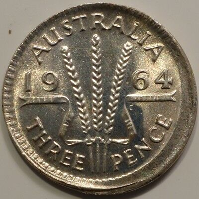 Australia 3 three pence 1964 error off center silver from error coin collection