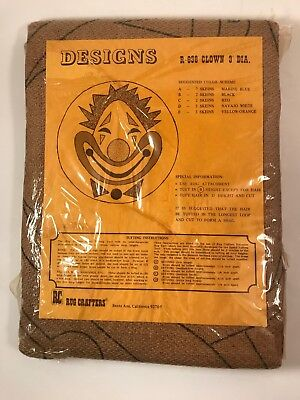Vintage Rug Crafters Designs R-638 CLOWN 3' Diameter Rug Burlap Template