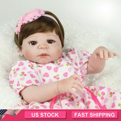 Full Vinyl Silicone Reborn Baby Dolls Life Like Newborn Babies Girl Doll Toy 22""