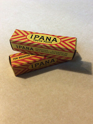 Vtg Lot 2 Ipana Sample Toothpaste Original Box Tube Tooth Paste NOS New 1 Used