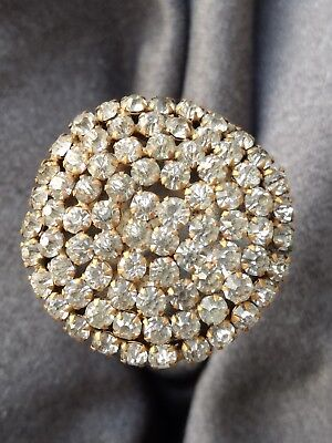 Antique Victorian Hat Pin Rhinestone Prong Set Gilt Dome Large Hatpin