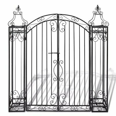 Ornamental Garden Gate Metal Arched Scroll Tall Gate Wrought Iron Fully Forged
