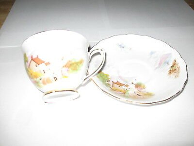 Colclough Teacup and Saucer Country Scene Bone China England.