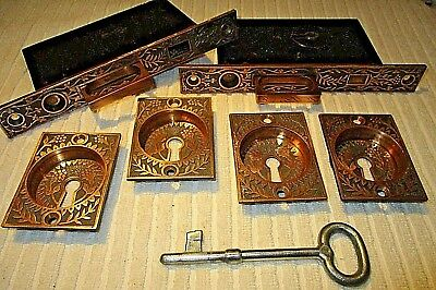 Set Antique Eastlake Victorian Brass Pocket Door Plate Pull Lock Arts Crafts