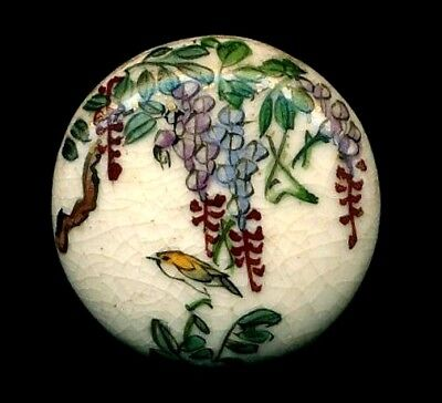 Antique Vintage Japanese Porcelain Satsuma Porcelain Button…Wisteria & Bird