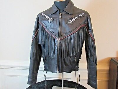 AMERICAN TOP Western Fringe Black Leather Motorcycle Women's Jacket SIZE L