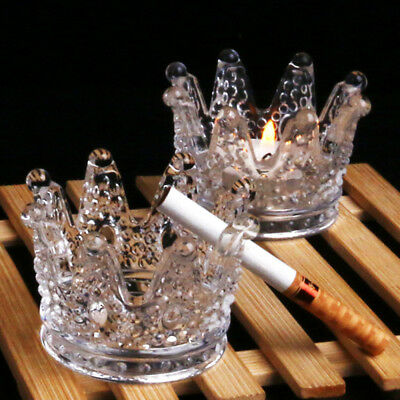 Clear Transparent Crystal Glass Round Crown Cigarette Ashtray Tobacco Tray New