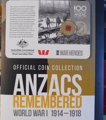 $1 Red poppy 4X14 COIN SETS 2015,2016 2017 2018 OFFICIAL ANZAC DISPLAY FOLDERS