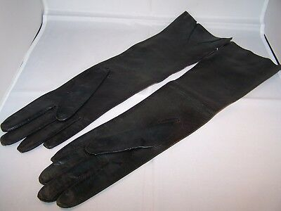 Vintage Black Elbow-Length Abraham & Straus Leather Gloves Made in Italy Sz 7 2