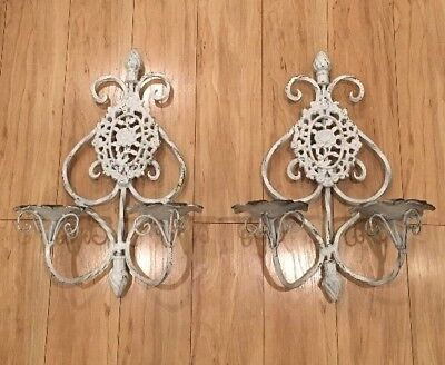 "A Pair Of Antique Large Two Candle Wrought Iron Sconces . Rose 🌹. 18""x12""x 7"""