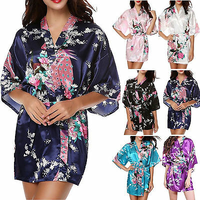 Silk Satin Short Wedding Party Bridesmaid Robe Women Lady Floral Bathrobe Kimono