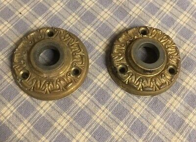 "2 ANTIQUE Cast BRASS 2"" DOOR Knob FACE PLATES Or Rosettes. Architectural Sal"