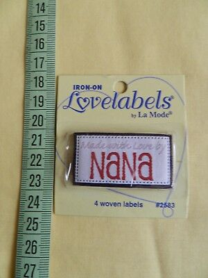 "Lovelabels ""Made with love by Nana""  - 4 iron-on labels,  4.75cm x 2.5cm each"