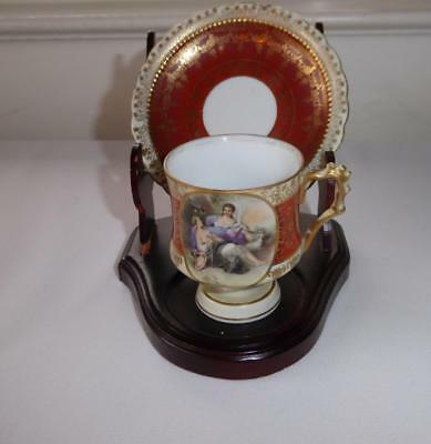 Antique Hand Painted Woman & Sheep Footed Porcelian Demitasse Cup & Saucer