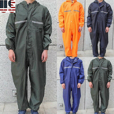 Waterproof Men Outdoor Work Jumpsuit Motorcycle Rain Suit Raincoat Overall S-3XL