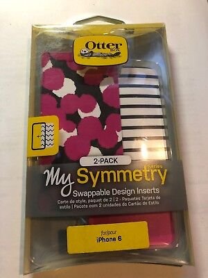 Otterbox My Symmetry Series 2-Pack Inserts for iPhone 6/6S-Ink Blot Pink/Stripes