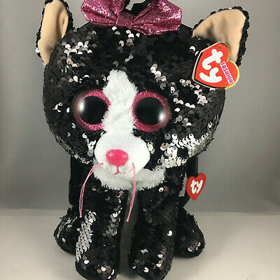 2018 TY Fashion Flippy Color Changing Sequin Backpack KIKI the Grey Cat 13 Inch