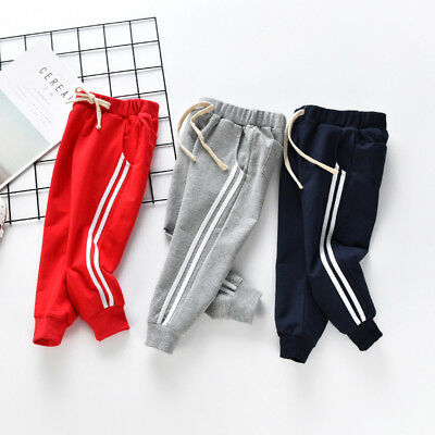 Toddler Kids Baby Girl Boy Striped Trousers Pants Loose Sport Slacks All Seasons