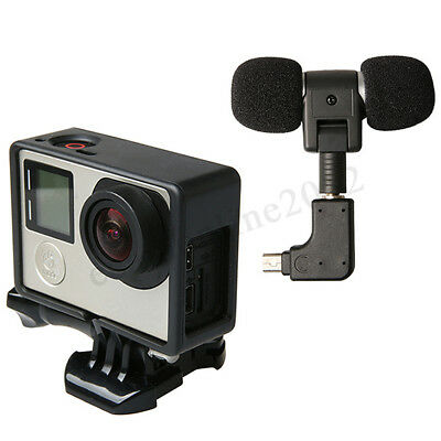 External Microphone Mic + Adapter + Housing Frame Case For GoPro Hero 6 5 4 3+