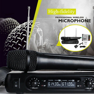 2 Channel Dual Cordless Handheld Microphone Wireless Mic System With LCD Display