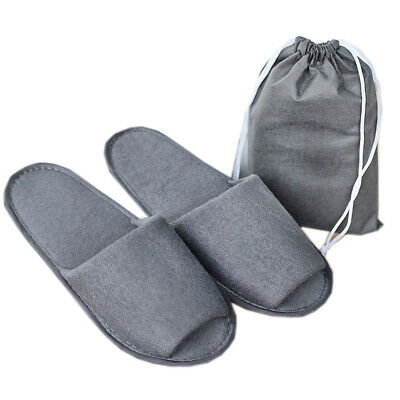 Portable Foldding Slipper Hotel Guest Open Toe Towelling Travel Slipper with Bag