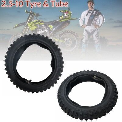 Pair 2.5 - 10 Tyre Tire 2.50-10 with TUBE FOR DIRT PIT POCKET BIKE SSR CRF XR