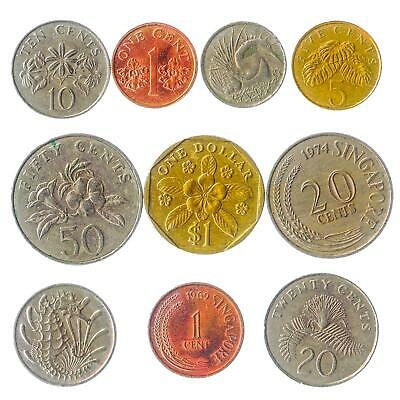 10 Different Coins From Singapore Asian Island Singaporean Old Collectible Money