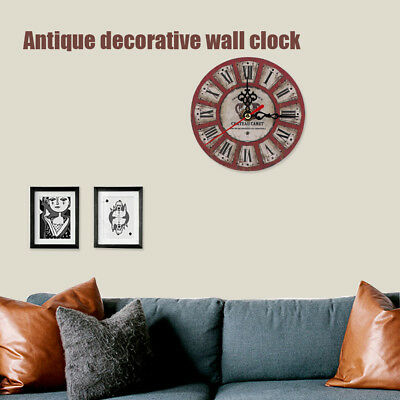 Retro Round Wall Clock Time  Art Decor Home Kitchen Room Decor Shabby UK