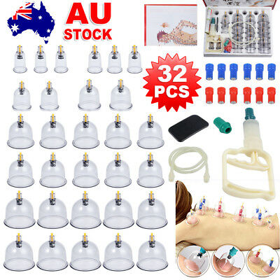 32 Cups Vacuum Cupping Set Massage Acupuncture Suction Massager Muscle Relief