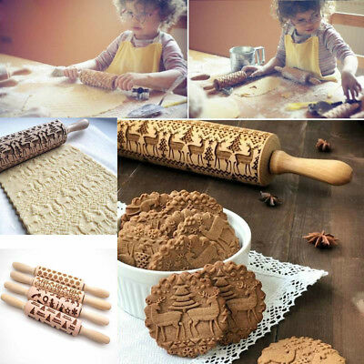 Christmas Embossing Rolling Pin Biscuits Cookies Rolling Stick for Baking Decor