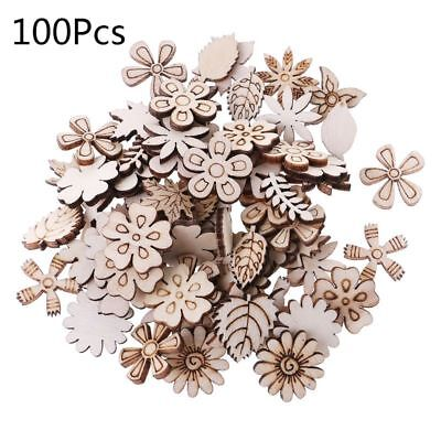 100pcs Laser Cut Wood Flowers&leaves Embellishment Wooden Shape Craft Decor Hot
