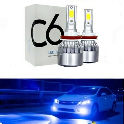 2x NEW H8 H9 H11 H16 8000K Ice Blue COB LED Headlight Bulbs Kit High Low Beam US