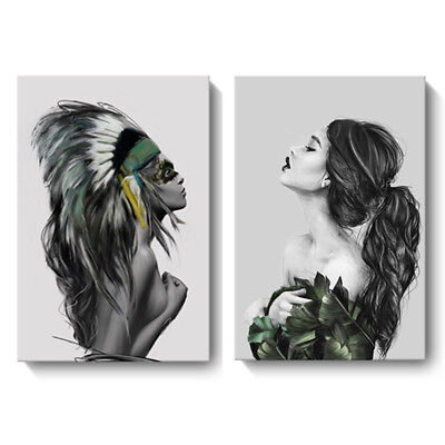 Women Modern Abstract Art Inkjet Portrait Canvas Painting Print Home Decor